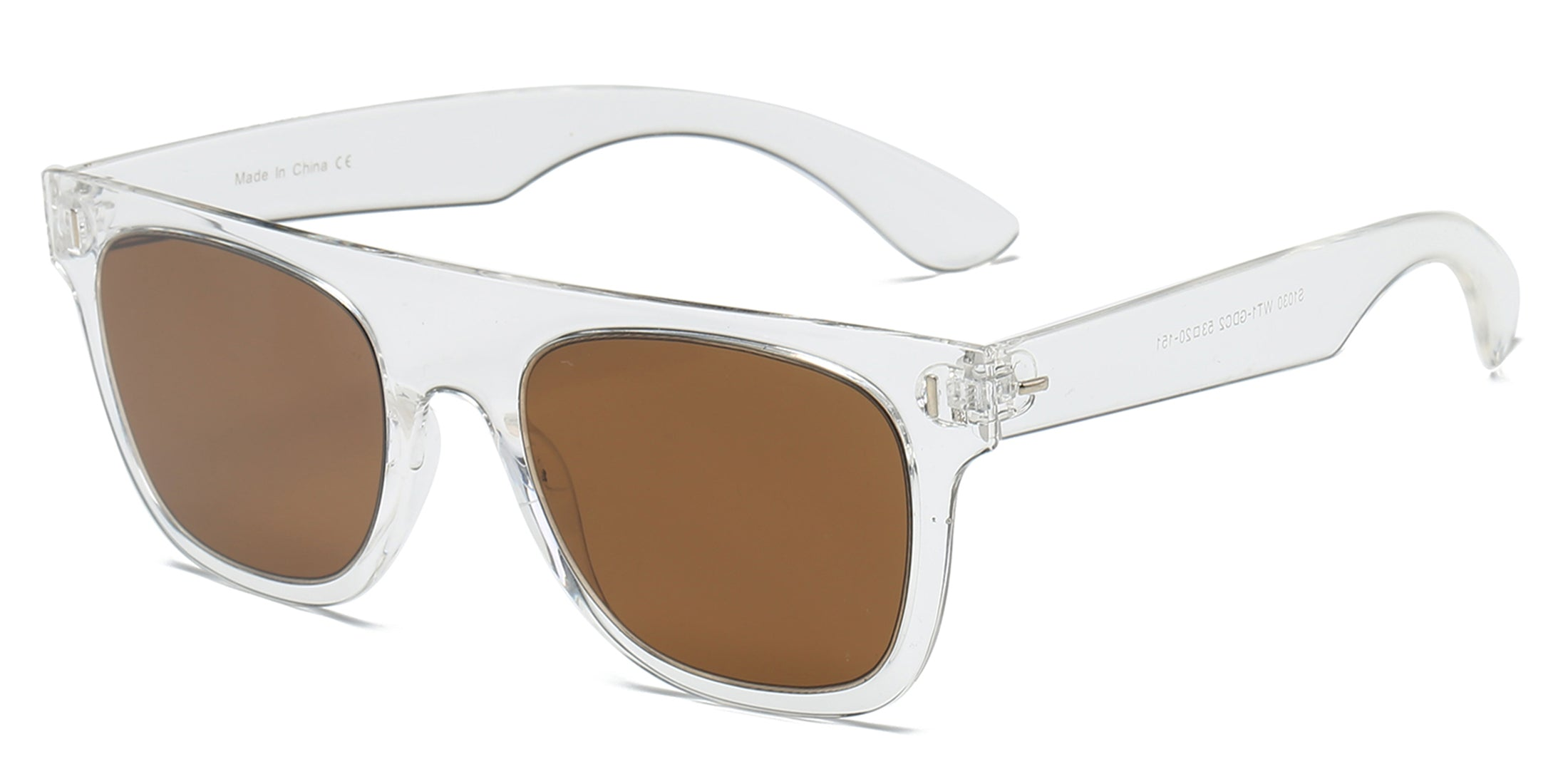 Akcessoryz-unisex square sunglasses with brown lens and clear frame