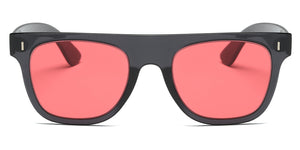 Akcessoryz-unisex square sunglasses with red lens and black frame