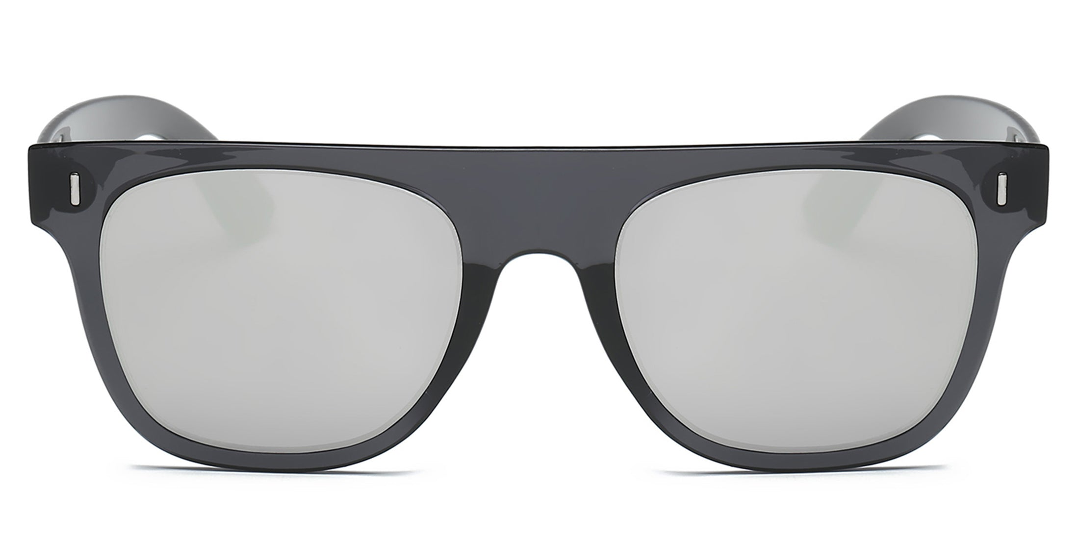 Akcessoryz-unisex square sunglasses with silver lens and black frame