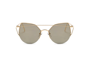 Akcessoryz-women cat eye sunglasses with amber lens and gold frame