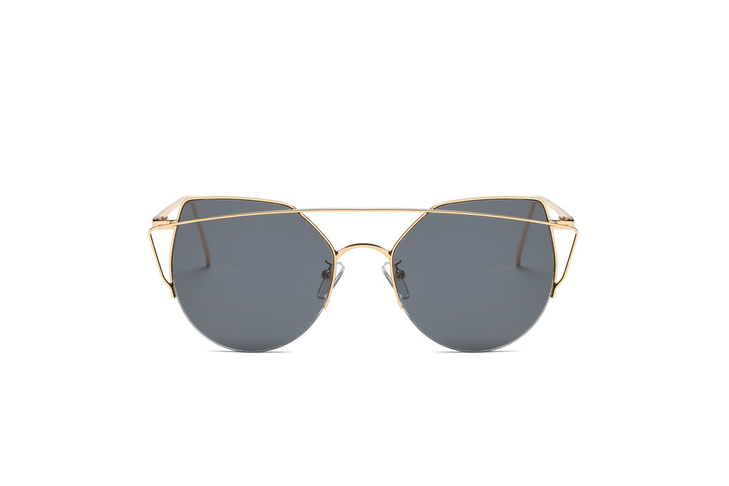 Akcessoryz-women cat eye sunglasses with black lens and gold frame