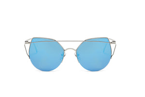 Akcessoryz-women cat eye sunglasses with blue lens and silver frame