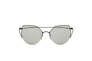 Akcessoryz-women cat eye sunglasses with silver lens and black frame