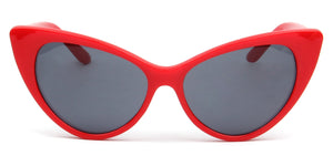 Akcessoryz-women extreme cat eye sunglasses with black lens and red frame