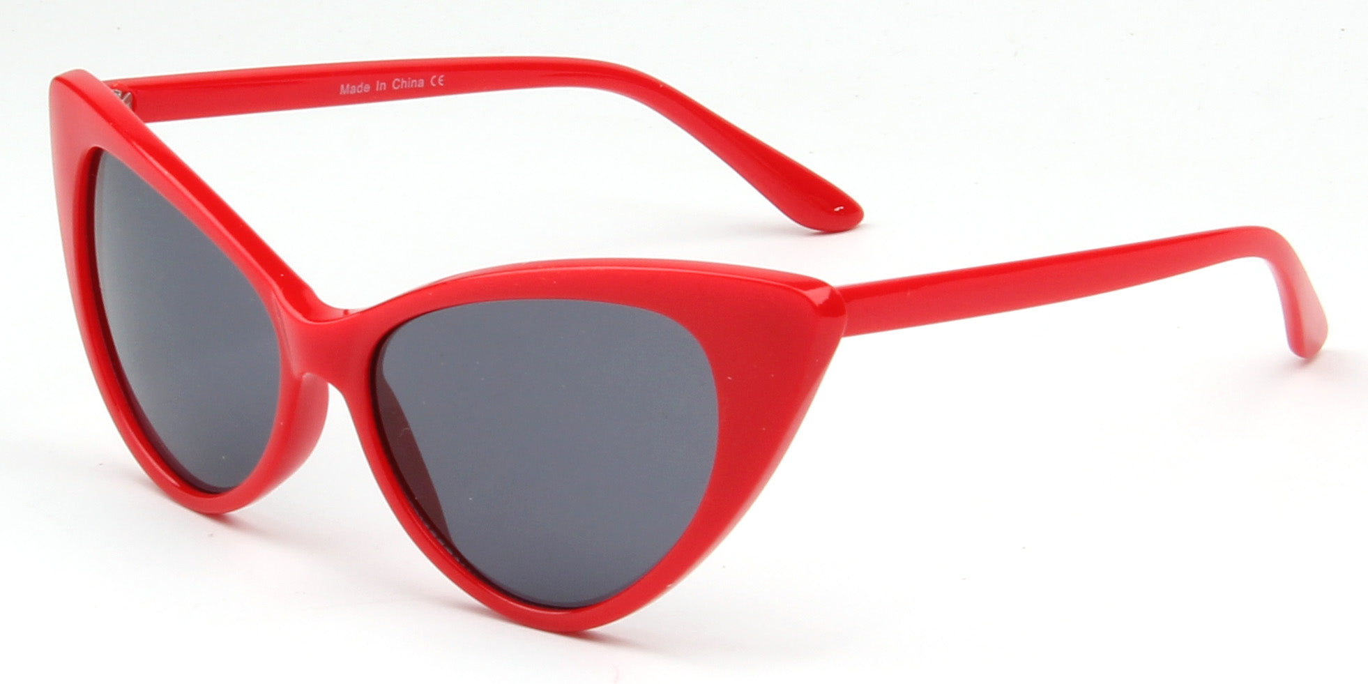 women extreme cat eye sunglasses with black lens and red frame F