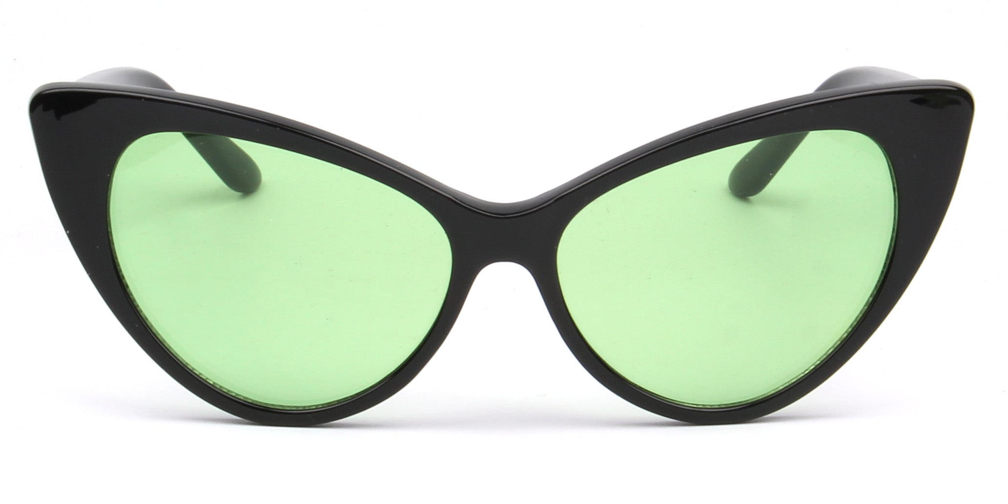 Akcessoryz-women extreme cat eye sunglasses with green lens and black frame