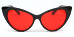 Akcessoryz-women extreme cat eye sunglasses with red lens and black frame