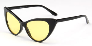 Akcessoryz-women extreme cat eye sunglasses with yellow lens and black frame