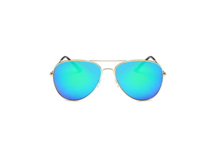 Akcessoryz-women aviator sunglasses with green lens and silver frame