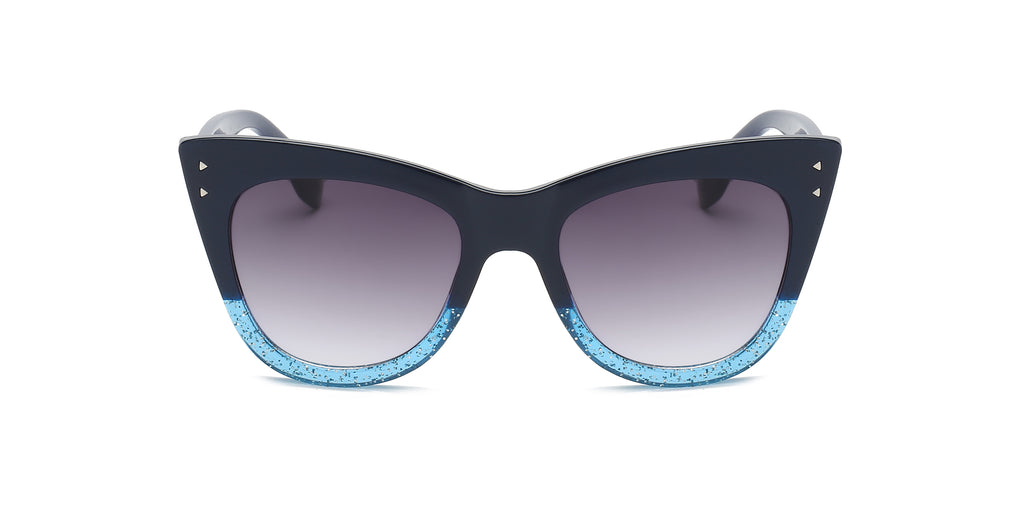 Akcessoryz-women high pointed cat eye sunglasses with gradient lens and black & blue frame