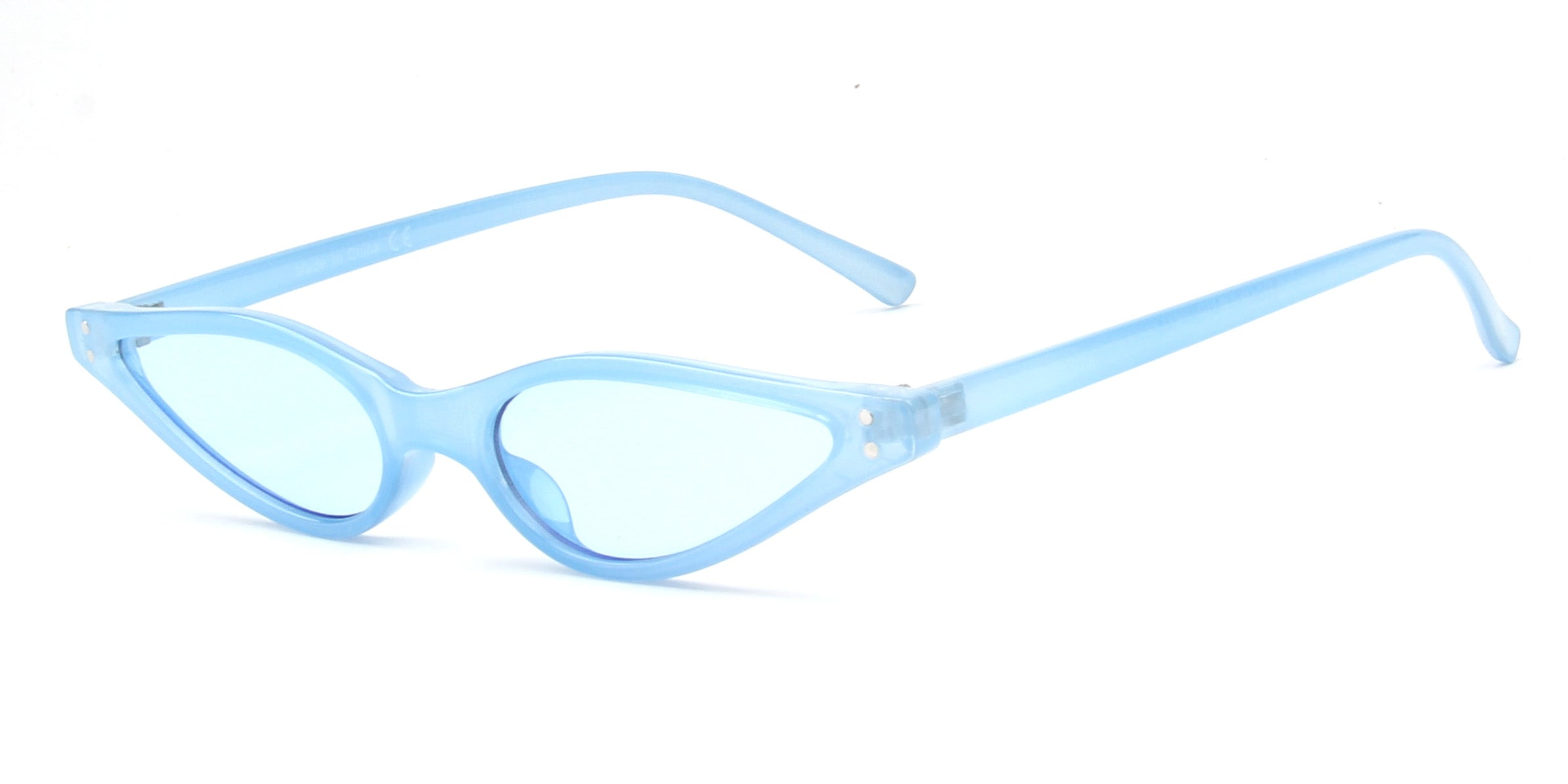 Akcessoryz-women small round oval sunglasses with blue lens and blue frame