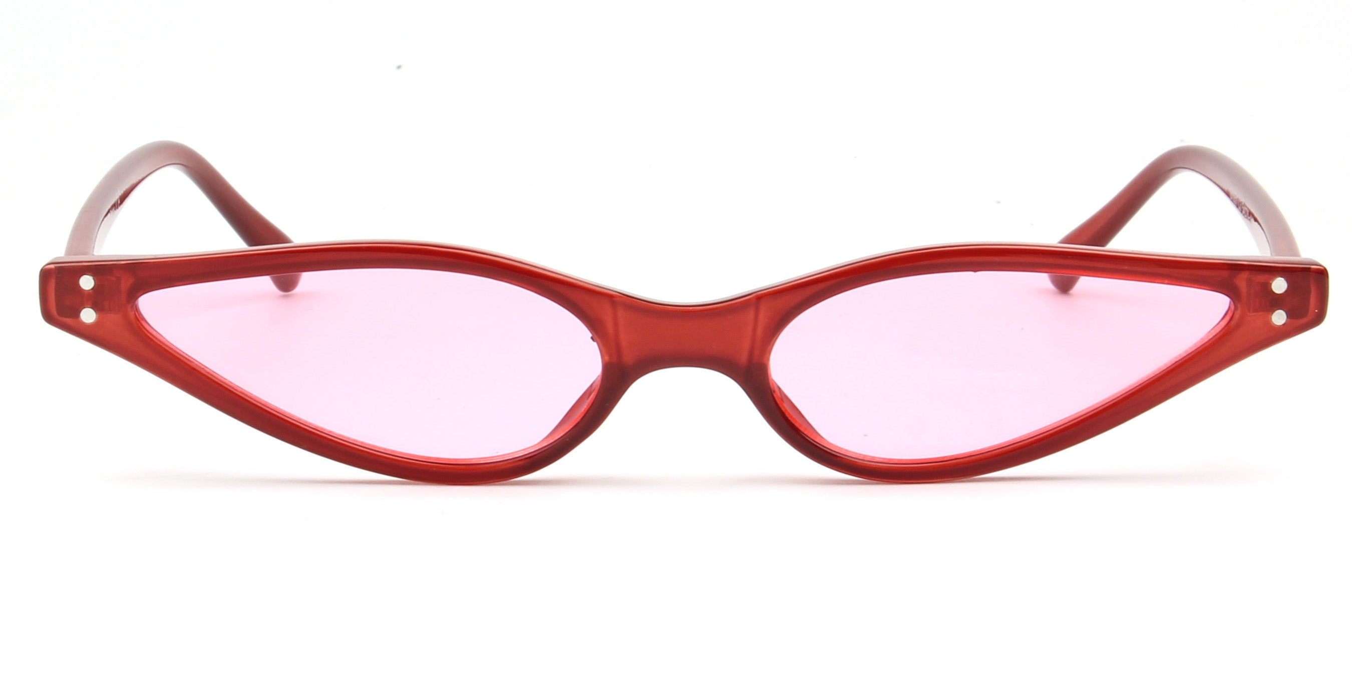 Akcessoryz-women small round oval sunglasses with pink lens and red frame