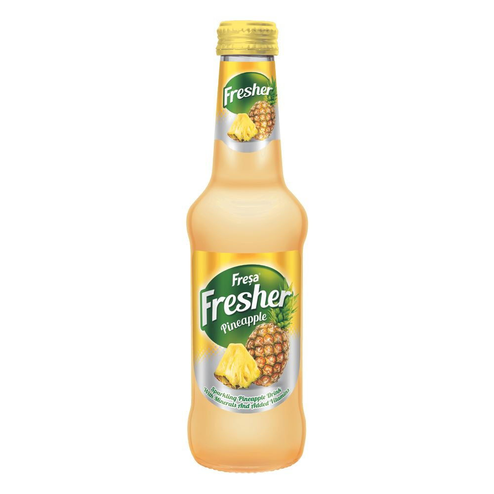 Natural Sparkling Mineral Water with Pineapple Fruit - Fresher- Ananas - Fresa (6 x 250ml)