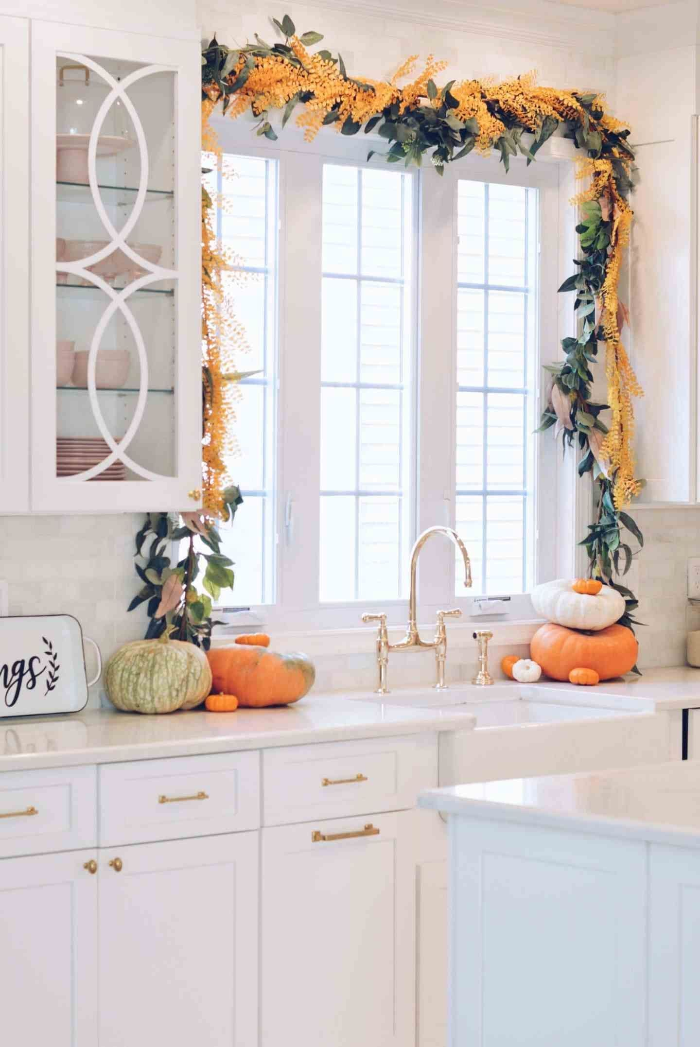 fall garland kitchen