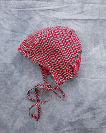 ONE OF A KIND Reversible Red Plaid Bonnet