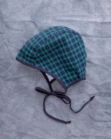 ONE OF A KIND Reversible Green Plaid Cotton Bonnet