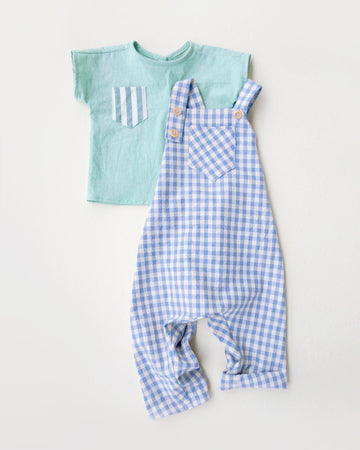 Summer Blue Gingham Romper