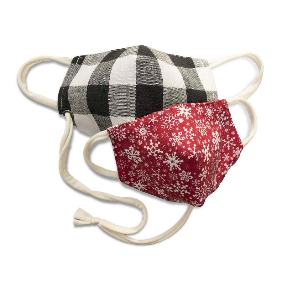 Reversible Filter Pocket Mask | Snowflake Check