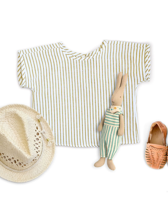 SALE Khaki Stripe Linen Top