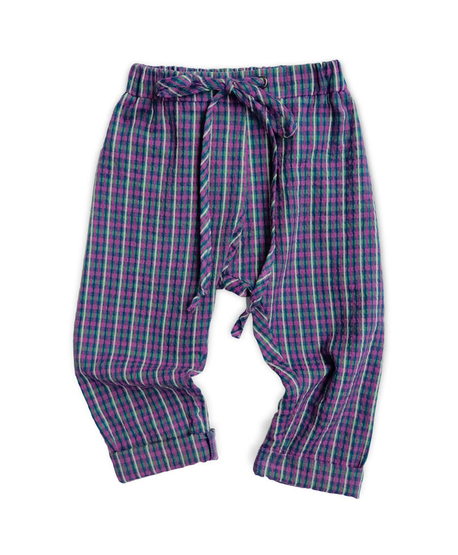 SALE Purple Plaid Seersucker Pants