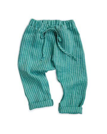 Teal Herringbone Pants
