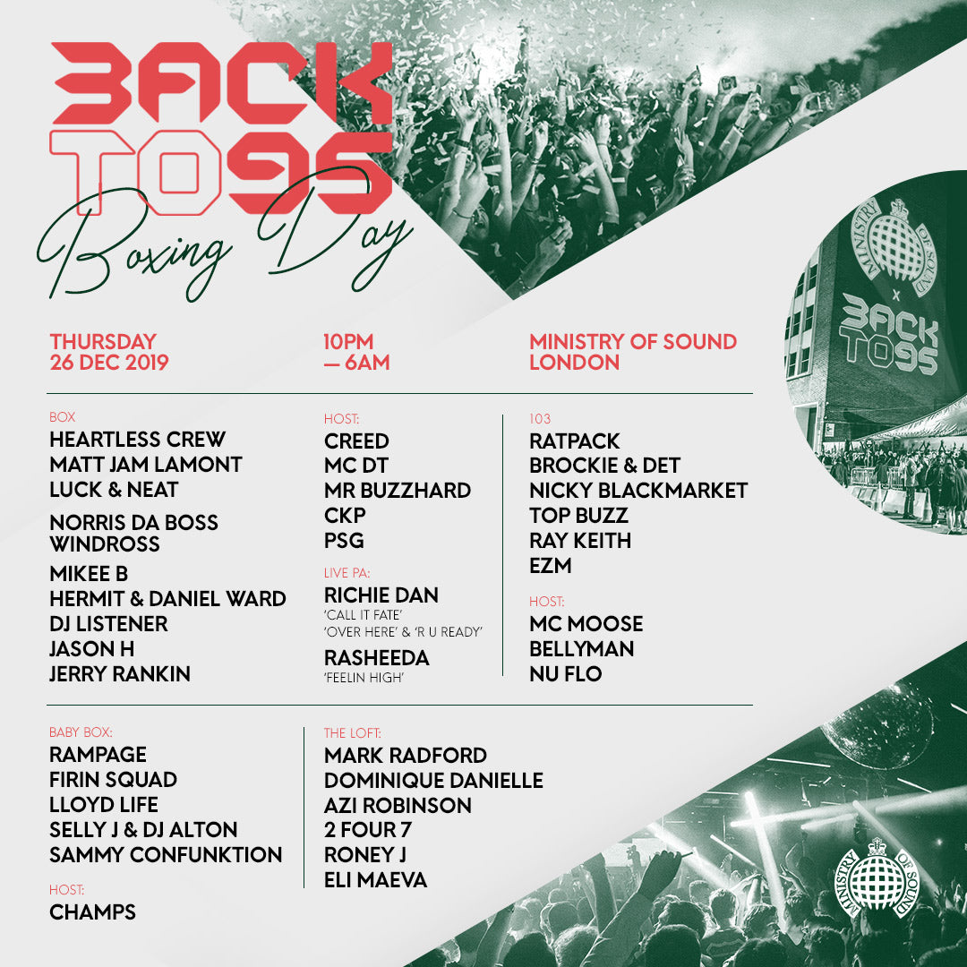Backto95 Boxing Day entry info & artist set times 🙌