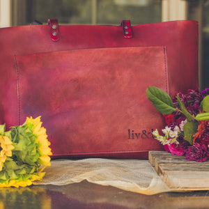Large Hand Painted Leather Tote-Liv & B