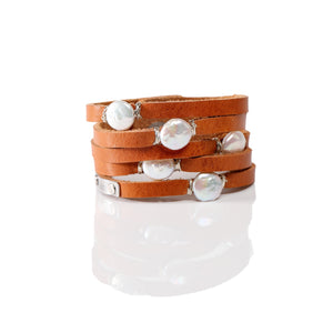 Cinco Leather Wrap Bracelet Tan