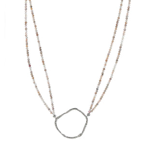Discovery Beaded Necklace with Silver Ring-Liv & B