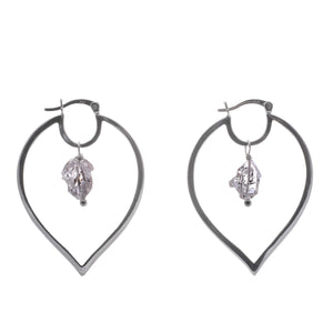 Sterling Silver Herkimer Diamond Hoops-Liv & B