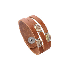 Mini Cinco Leather Wrap Bracelet Tan-Liv & B