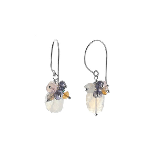 Serenity Moonstone Cluster Earrings-Liv & B