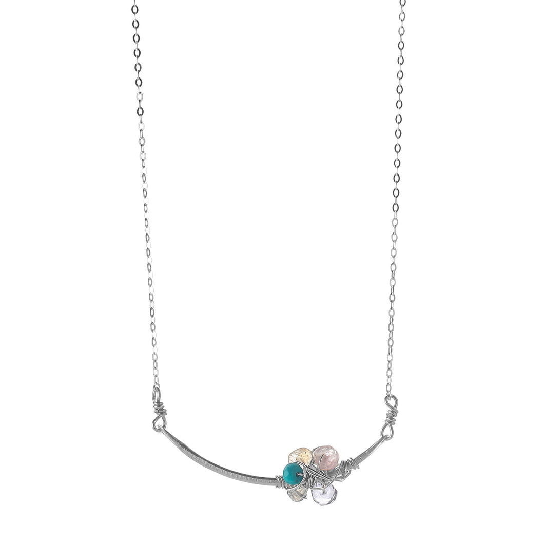 Serenity Gemstone Bar Cluster Necklace-Liv & B