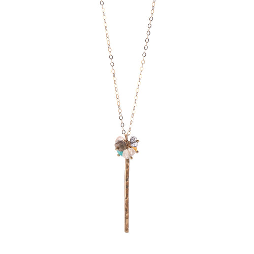 Serenity Sparkler 14K Gold Bar Gemstone Necklace-Liv & B