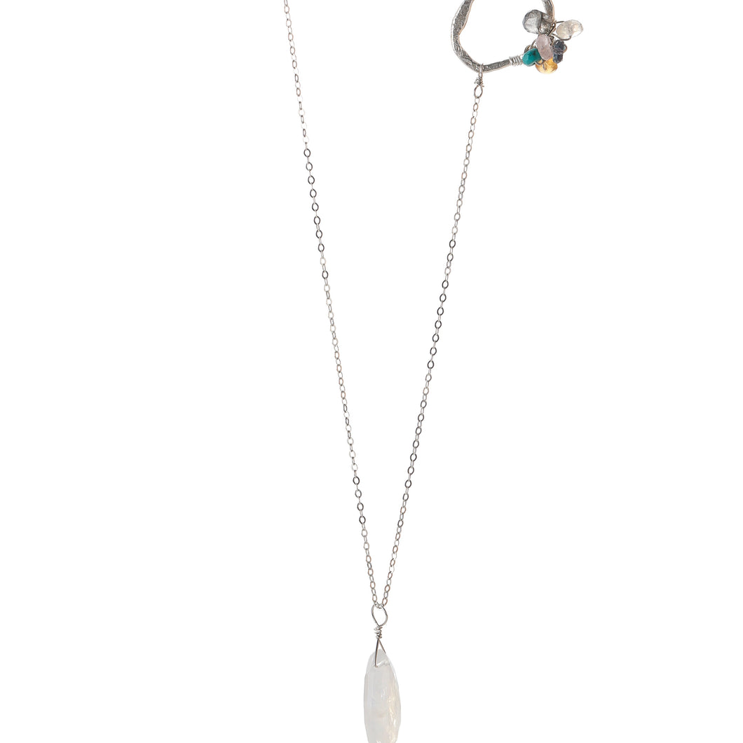 Serenity Moonstone Cluster Necklace-Liv & B