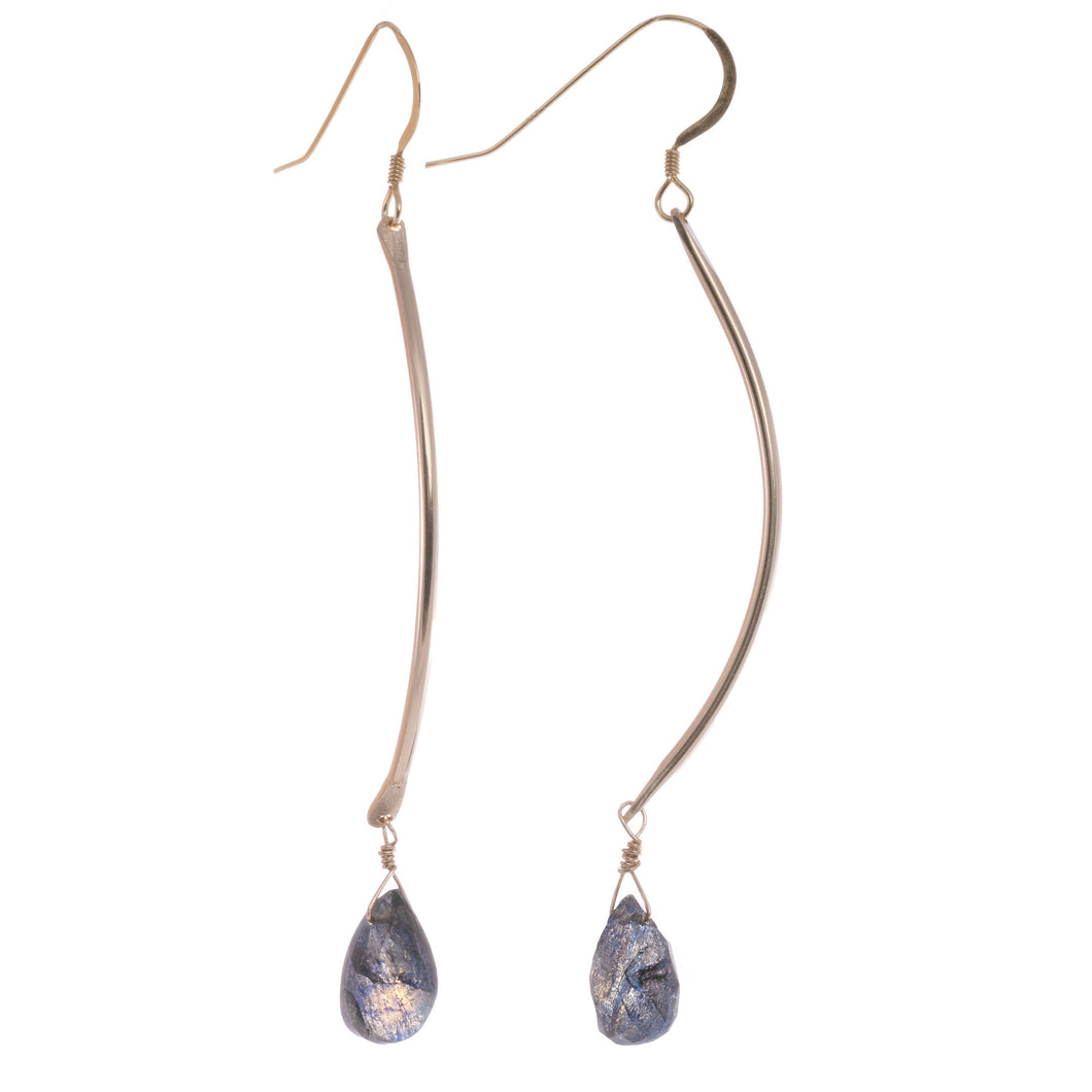Shannon Curved Gemstone Earrings-Liv & B