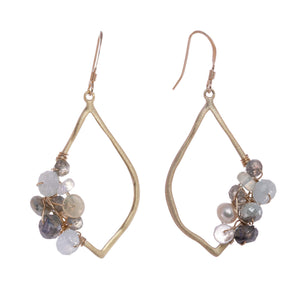 Clara 14K gold fill gemstone cluster earrings