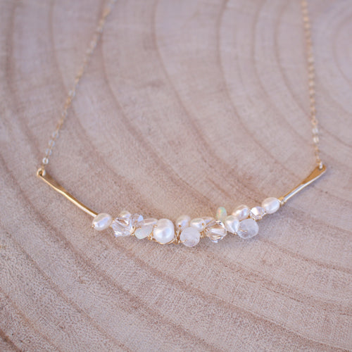 Opal, Pearl and Swarovski Crystal Bar Cluster Necklace-Liv & B