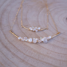 Load image into Gallery viewer, Opal, Pearl and Swarovski Crystal Bar Cluster Necklace-Liv & B