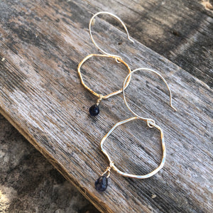 Wonky Hoops with gemstones