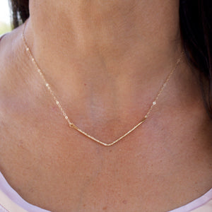 Evelyn Gold Bent Bar Necklace-Liv & B