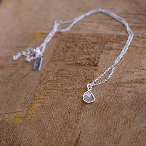 Diamond Slice Sterling Silver Necklace-Liv & B