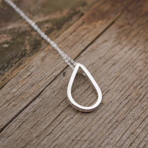 Aligned Teardrop Sterling Silver Necklace-Liv & B
