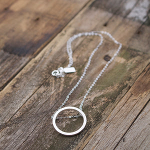Aligned Circle Sterling Silver Necklace-Liv & B