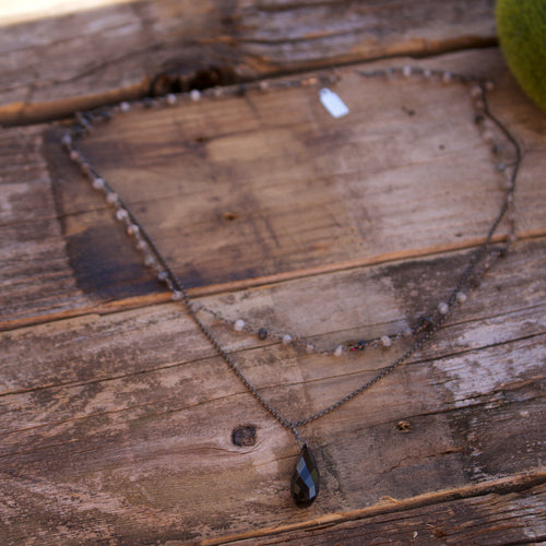 Riverdale Black Oxidized Sterling Silver Necklace-Liv & B