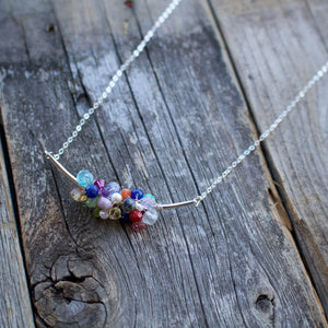 Hot Mess Gemstone Cluster Necklace-Liv & B