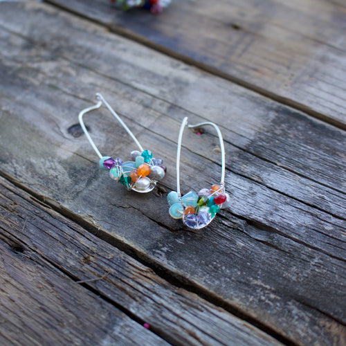 Hot Mess Cluster Gemstone Hoop Earrings-Liv & B