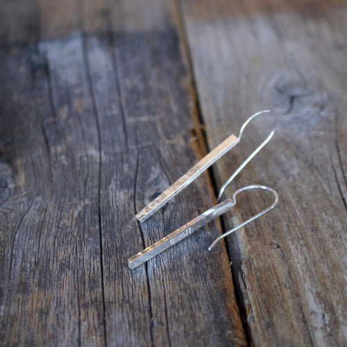 Align solid bar sterling silver earrings