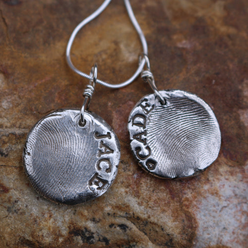 Silver Personalized Thumbprint Charm-Liv & B
