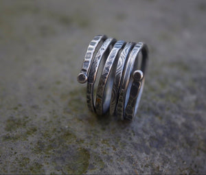 Silver Adjustable Spiral Textured Ring-Liv & B